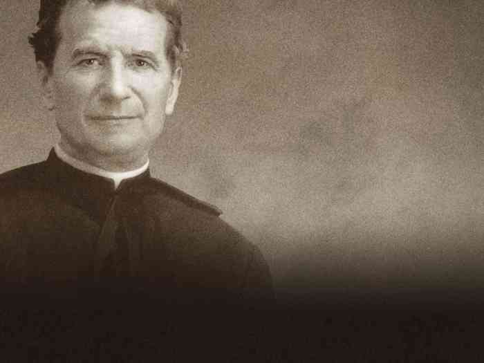 Black and white image of Saint John Bosco